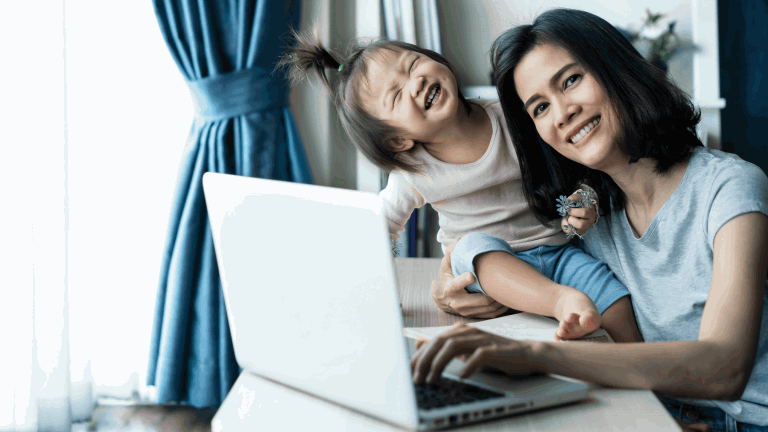 woman and laptop and kid